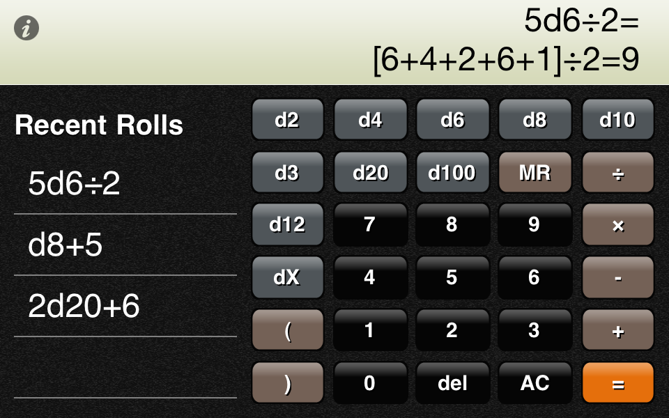 Screenshot RPG Calc